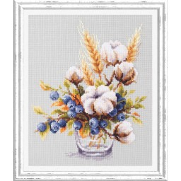 Cross Stitch Kit Blooming cotton and Blueberry art. 100-013