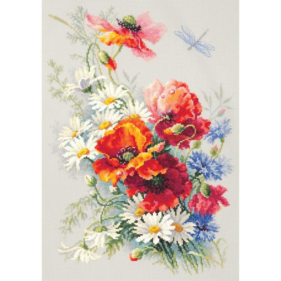 100-015 Cross Stitch Kit Poppy and Maiden Pinks art