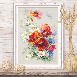 Cross Stitch Kit Poppies and daisies art. 100-061