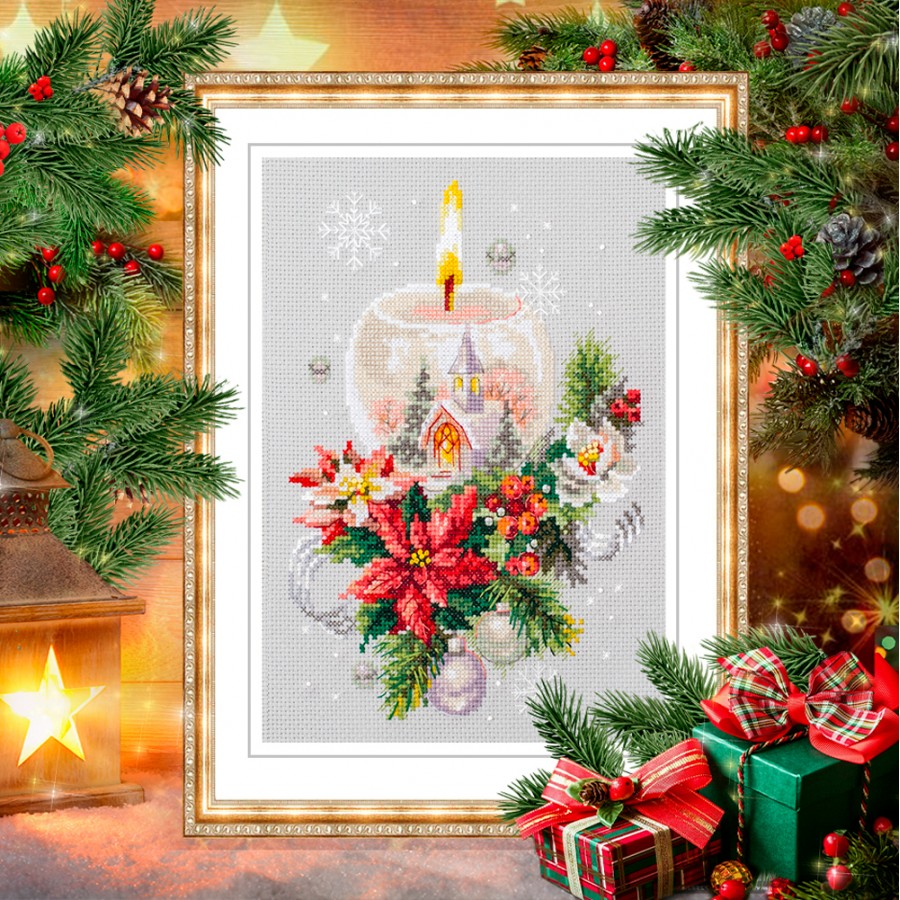 "/""Christmas candle/"" Cross Stitch Kit MAGIC NEEDLE 100-231"