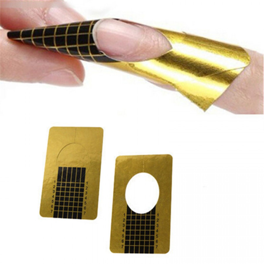 20 PCS Golden Horseshoe Shape Nail Forms Nail Art Sculpting Acrylic ...
