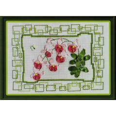 Cross Stitch Kit with ribbons Pink Orchid C-1010