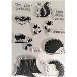 Forest Hedgehog Transparent Silicone Rubber Clear Stamps Scrapbooking