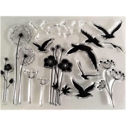 Dandelions Birds Transparent Silicone Rubber Clear Stamps Scrapbooking