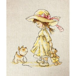 Cross Stitch Kit Come with me (girl and dog) B1075