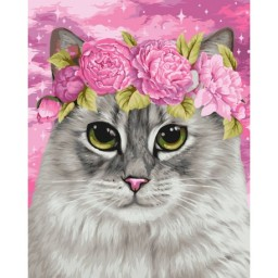 PAINT BY NUMBERS KIT CAT AND PEONIES 40X50 CM H113