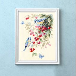 Cross Stitch Kit Blue tits and Cherry art. 130-021