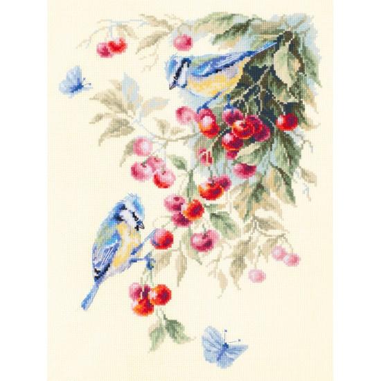 Cross Stitch Kit Blue tits and Cherry art. 130-021