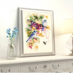 Cross Stitch Kit Blue jay and grapes art. 130-022