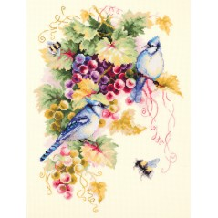Cross Stitch Kit Blue jay and grapes art. 130-022