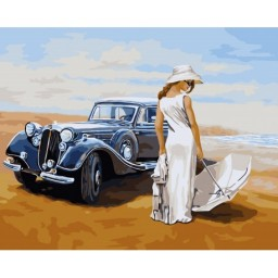 PAINT BY NUMBERS KIT GIRL AND CAR 40X50 CM J009