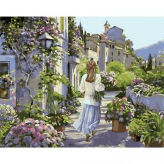 PAINT BY NUMBERS KIT GIRL WITH FLOWERS 40X50 CM J014 Framed