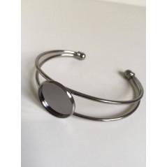 1 pc 20mm Round Bangle Bracelet Blank Tray Cabochon Cameo Base bezel Gunblack art. 174