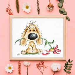 Cross Stitch Kit Puppy and flower art. 16-22