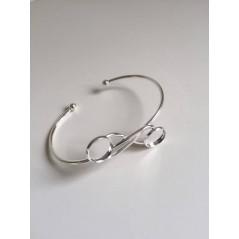 1 pc Open Cuff Bracelet Double Round Blank Base Trays Bezel for 12mm art. 234 Silver