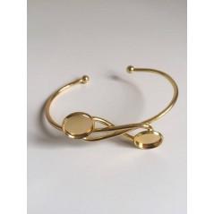 1 pc Open Cuff Bracelet Double Round Blank Base Trays Bezel for 12mm art. 234 Golden