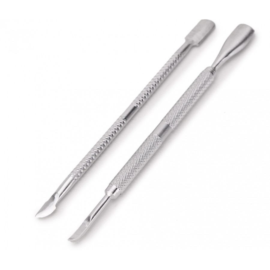 2 Pcs Nail Art Stainless Steel Cuticle Pusher Remover Trimmer Manicure Set Tool