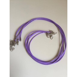 2 pcs 1.5 mm Leather Chains Necklaces Bracelet Pendant Charms With Lobster Cord Purple
