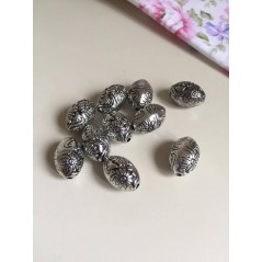 10 Pcs CCB Plastic Beads Oval Flower Antique Silver Beads art. 95