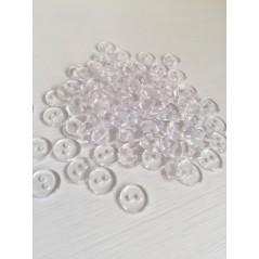 10 Pcs 12.5 mm Transparent 2-Holes Plastic Buttons Apparel Supplies Sewing art. 368