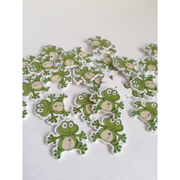 10 Pcs Mixed frog Painting Wooden decorative Buttons For Sewing Handmade art. 275