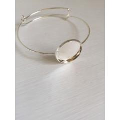 1 pc 20mm Round Bangle Bracelet Blank Tray Cabochon Cameo Base bezel art. 285