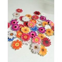 10 Pcs Sunflower Random Mixed flower Painted Wooden Decorative Buttons art 290