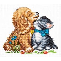 Cross Stitch kit Tenderness (dog and cat) art. 18-46