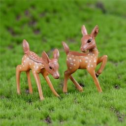 2 pcs Artificial mini sika deer fairy garden miniatures gnomes moss terrarium 2