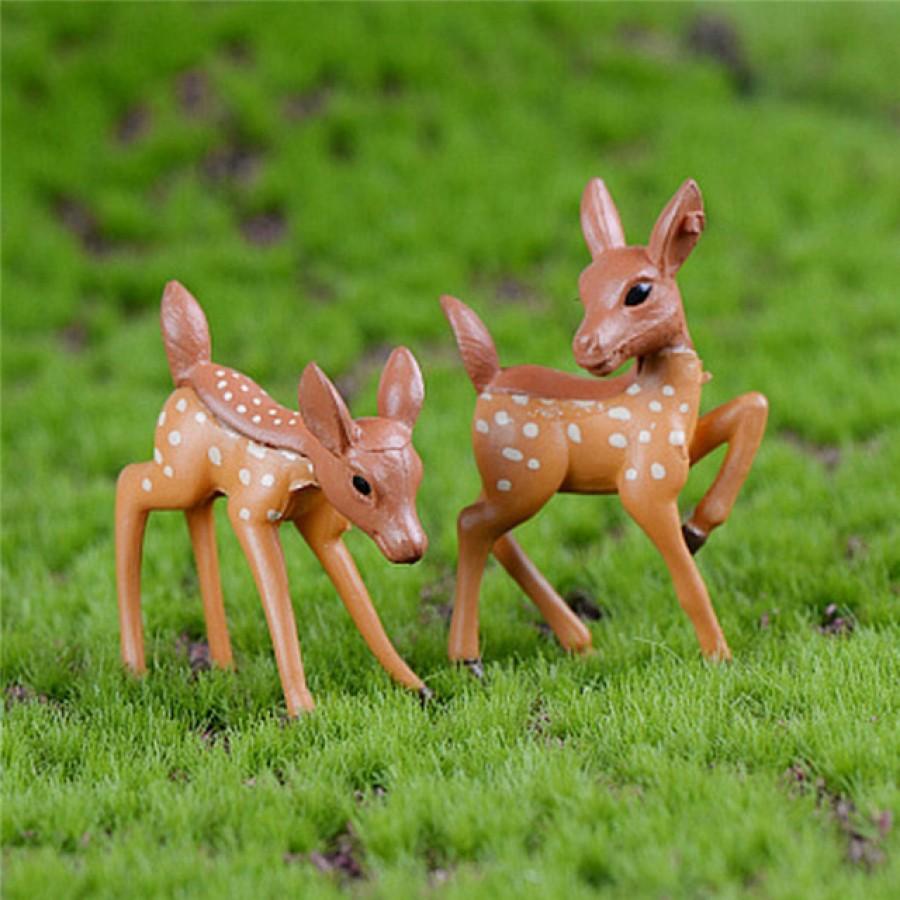 2 Pcs Artificial Mini Sika Deer Fairy Garden Miniatures Gnomes