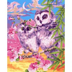 PAINT BY NUMBERS KIT TENDER OWLS 40X50 CM H103 Framed