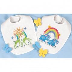 "Stamped Cross Stitch Kit Baby Hugs Stamped Cross Stitch Kit 9""X14"" 2/Pkg Noah'S Ark Bibs art. 73126"