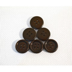10 pcs Dark Coffee Wooden Buttons Sewing Scrapbooking 4 Holes Round 18mm art. 356