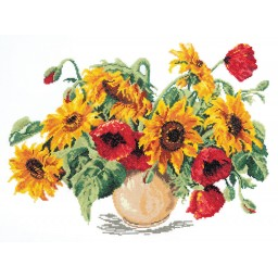 Cross Stitch Kit Sunflowers and poppies art. 40-09