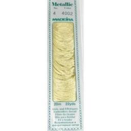 MADEIRA Metallic thread 20m art.4 Col. 4002 White Gold