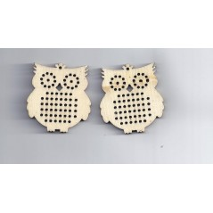 2 Pcs Wood Charm Pendants Owl Natural Cross stitch