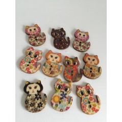 10 Pcs Mixed Color Cute Cat Multicolor Buttons 2 Holes Wooden Printing art. 33