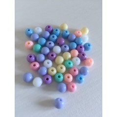 50 pcs Mixed Acrylic Round Ball Spacer Beads 6mm For Jewelry Making DIY art.104
