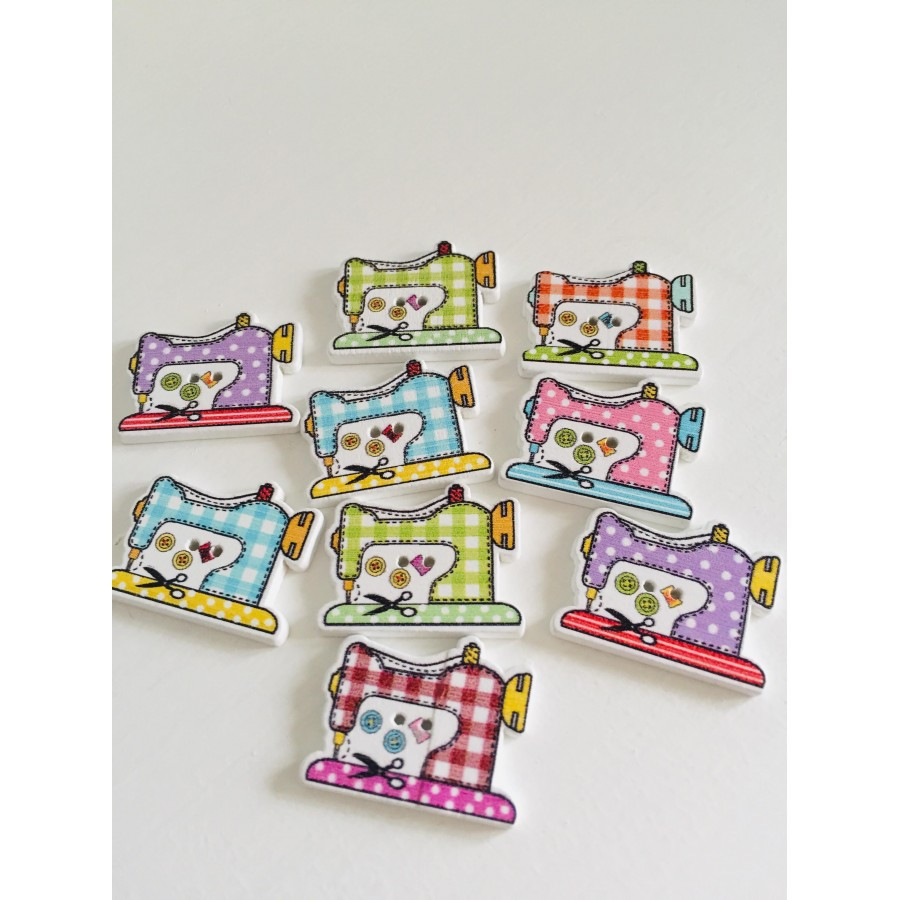 10 Pcs Wooden Buttons Flatback Scrapbooking Sewing Accessories 2 Holes art 134
