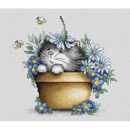 Cross Stitch Kit Kitten in flowers B1048