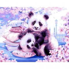 PAINT BY NUMBERS KIT JAPANESE PANDAS 40X50 CM H107 Framed