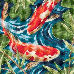 Needlepoint Mini Kit Koi Pond Asian Japanese Goldfish art. 7214
