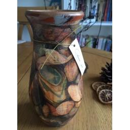 Handmade and decorated ceramic vase 19 cm.