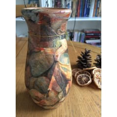 Handmade and decorated ceramic vase 19 cm.