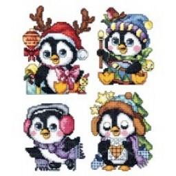 Cross Stitch Kit Christmas with plastic canvas Christmas Penguins art. 7635