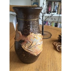 Handmade and decorated ceramic vase 18 cm.