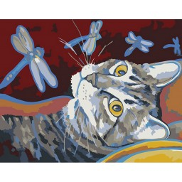 PAINTING BY NUMBERS CAT AND DRAGONFLY 16.5X13 CM T16130101