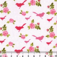 Fabric for Patchwork, crafting and embroidery BIRDS AND HEARTS N2 AM558010T