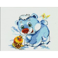 Cross Stitch Kit Bear and fish art. 17-14