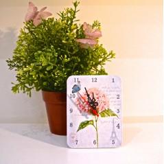 Rectangle Shaped MDF Mini Clock Beautiful flower